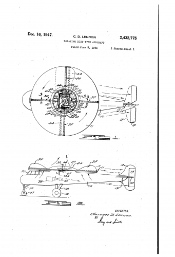 Lennon Rotating Disc Type Aircraft (Patent 2432775).png