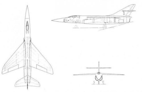 The first version of the supersonic fighter the Hawker p. 1103  (11.2.54). Bae Famborough.jpg