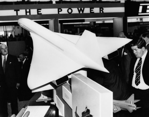 A Concorde model at the Farnborough Air Show Exhibition in England Sept 9 1962.jpg