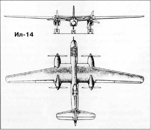 Il-14 front view and plan view drawing.jpg