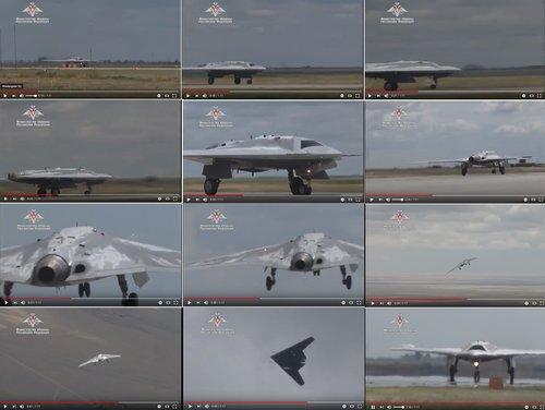 Sukhoi S-70 Okhotnik UCAV maiden flight video.jpg