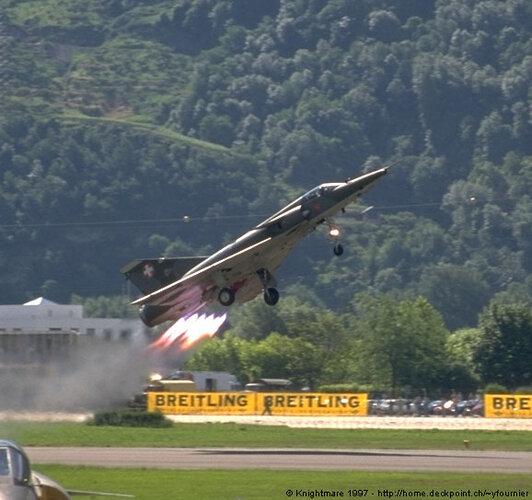 Swiss Dassault Mirage IIIRS jato Sion 1997.jpg