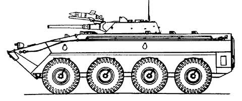 Side-view drawing of Object1200 - wheeled variant study of the BMP-1 MICV.jpg