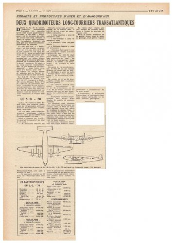 SNCASO Sud-Ouest SO.70 airliner project - Les Ailes - No. 1,623 - 9 Mars 1957.......jpg