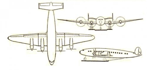 SNCASO Sud-Ouest SO.70 airliner project 3-view - Les Ailes - No. 1,623 - 9 Mars 1957.......jpg
