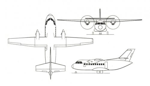 Aeritalia AIT-230-208 project 3-view drawing - Air International - March 1980.......jpg