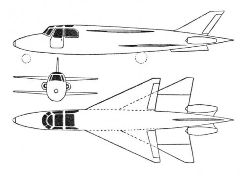 Delanne 1300 tandem delta-wing business jet project 3-view drawing - Les Ailes - No.jpg