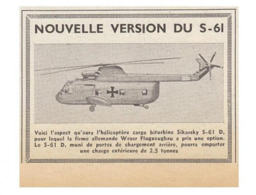 Sikorsky S-61D cargo helicopter project - Les Ailes - No. 1,814 - 24 Février 1961.......jpg