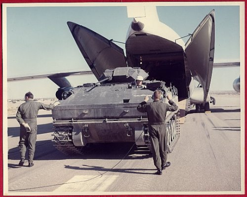 1975 US Army Experimental XM723 MICV, being loaded into a Lockheed C-141 Starlifter.jpg