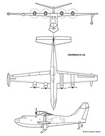 3-view drawing of Grumman G-132 (Source -Lloyd S. Jones).jpg